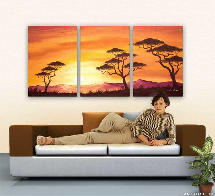 Wandbild Chanel Simon SUNSET AFRICA - EDITION Wohnbeispiel