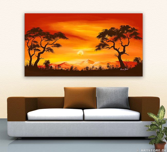 Wandbild Chanel Simon BEAUTIFUL SUNSET Wohnbeispiel