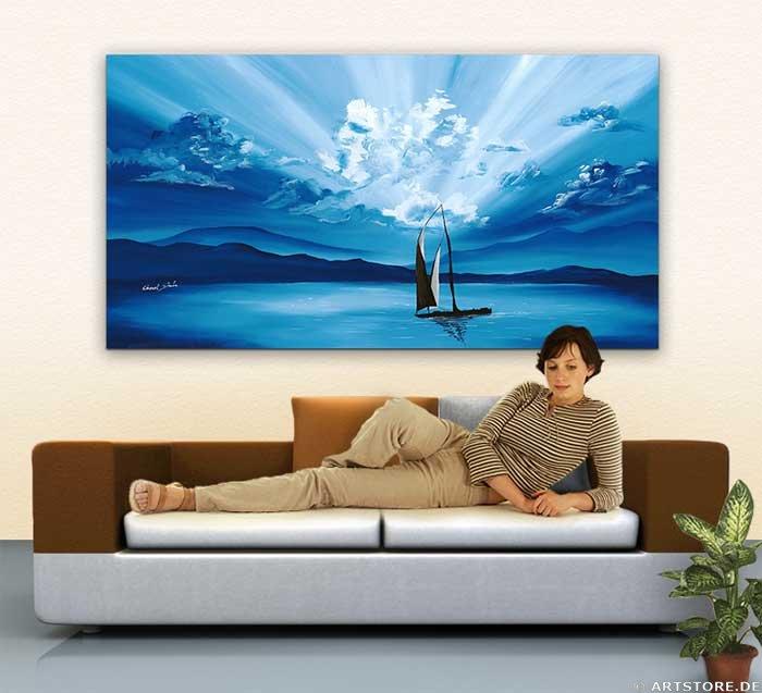 Wandbild Chanel Simon SUNSET SAILING Wohnbeispiel
