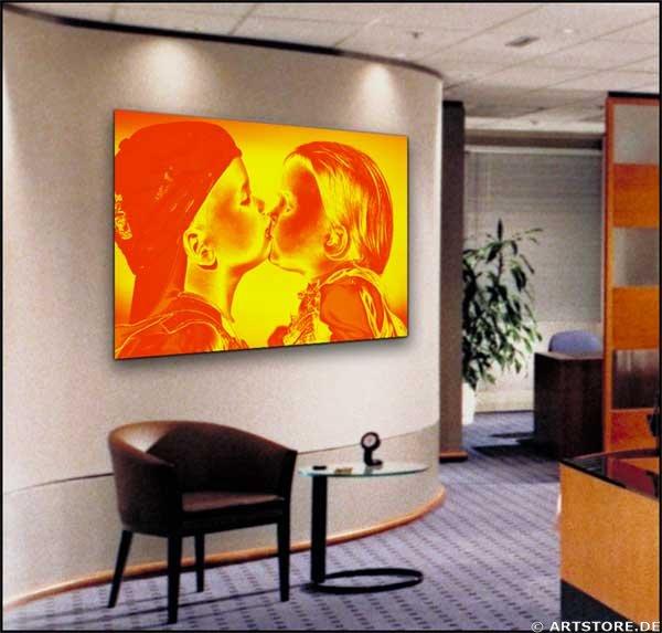Wandbild Jack Dyrell FIRST KISS Wohnbeispiel