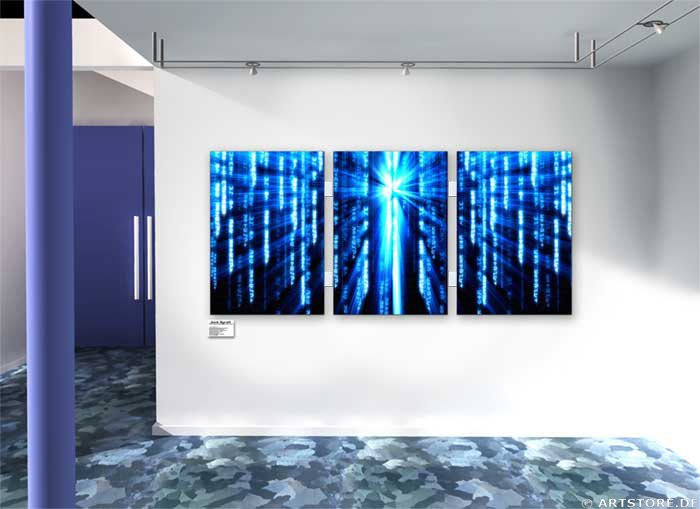 Wandbild Jack Dyrell MATRIX BLUE Wohnbeispiel