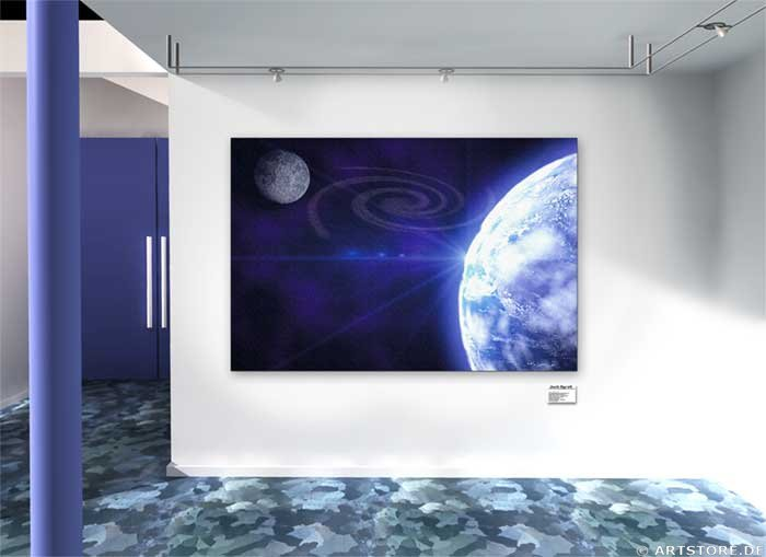 Wandbild Jack Dyrell BLUE PLANET No.1 Wohnbeispiel