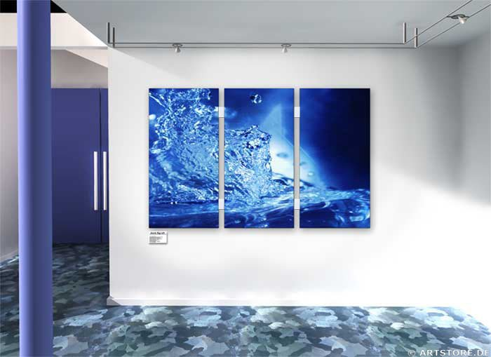 Wandbild Jack Dyrell BLUE SPLASH Wohnbeispiel