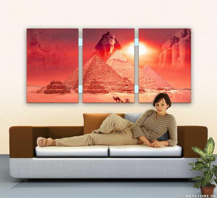 Wandbild Jack Dyrell MYTHOS ÄGYPTEN EDITION in RED Wohnbeispiel