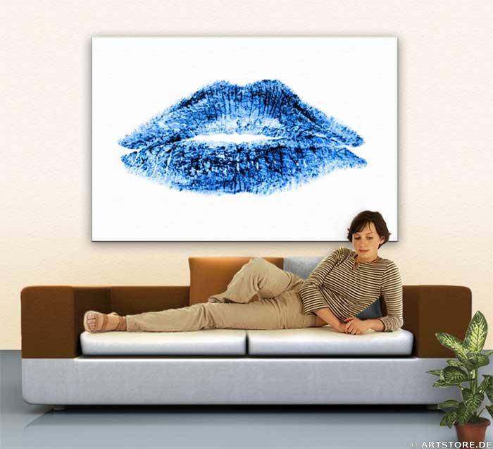 Wandbild Jack Dyrell BLUE LIPS Wohnbeispiel