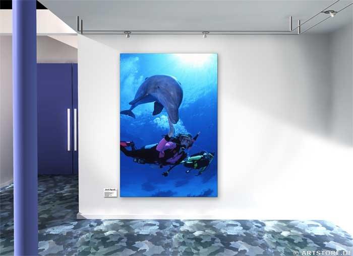 Wandbild Jack Dyrell WITH DOLPHINS Wohnbeispiel