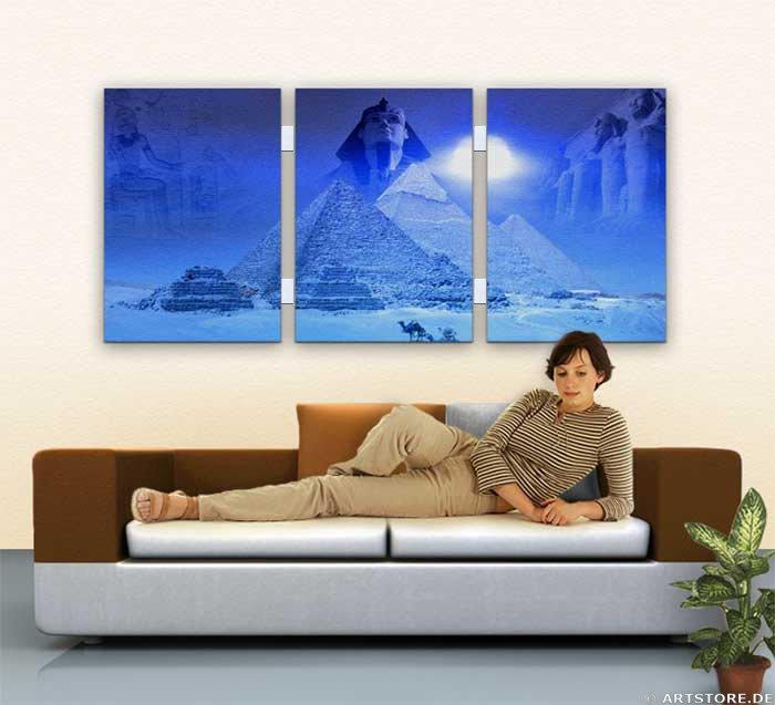 Wandbild Jack Dyrell MYTHOS ÄGYPTEN EDITION in BLUE Wohnbeispiel