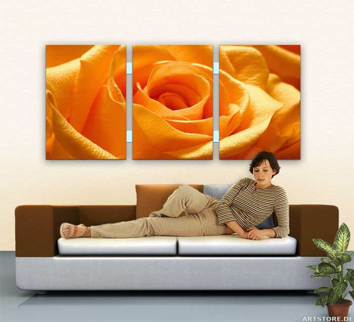 Wandbild Jack Dyrell ORANGE ROSE - EDITION Wohnbeispiel