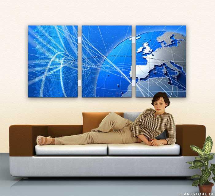 Wandbild Jack Dyrell BLUE - DYNAMIC - WORLD Wohnbeispiel