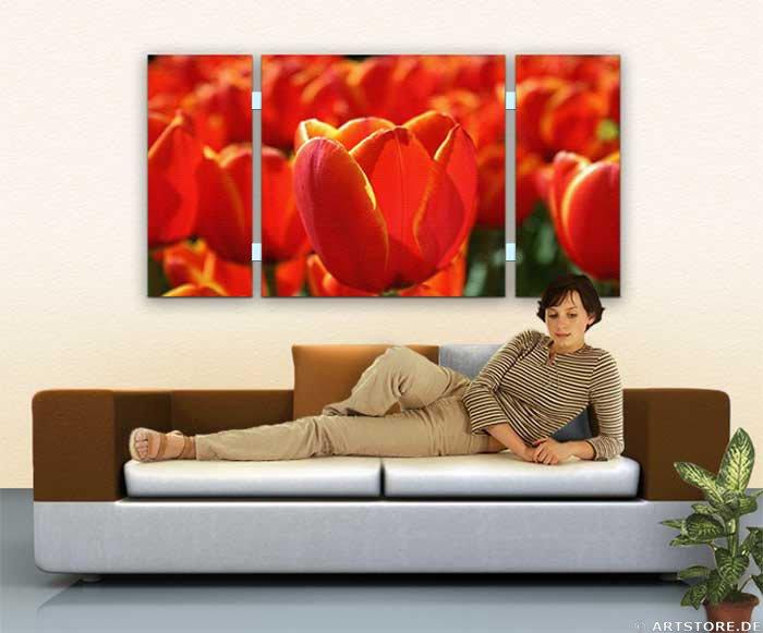 Wandbild Jack Dyrell RED TULIPS Wohnbeispiel