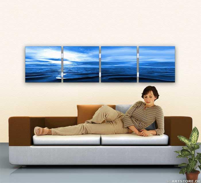 Wandbild Jack Dyrell BLUE SUNSET Wohnbeispiel