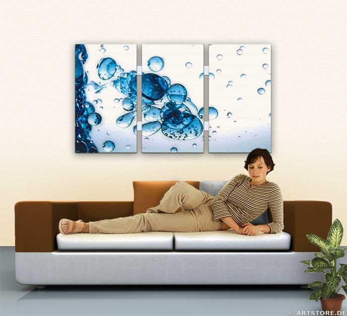 Wandbild Jack Dyrell BLUE DROPS - EDITION Wohnbeispiel