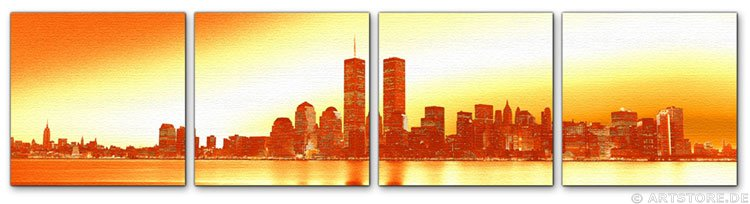 Wandbild Jack Dyrell OLD NEW YORK SKYLINE - GOLD