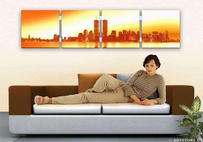 Wandbild Jack Dyrell OLD NEW YORK SKYLINE - GOLD Wohnbeispiel