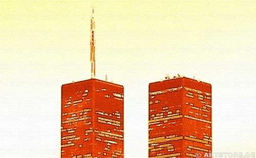 Wandbild Jack Dyrell OLD NEW YORK SKYLINE - GOLD Detailausschnitt