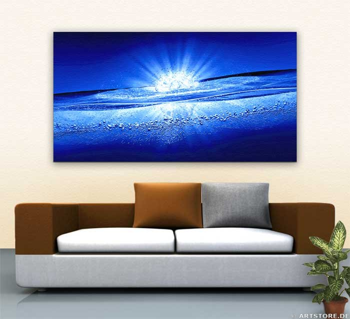 Wandbild Jack Dyrell BLUE WATER EXPLOSION Wohnbeispiel