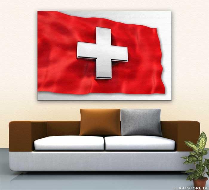 Wandbild Jack Dyrell SWISS FLAG - 3D Cross Wohnbeispiel