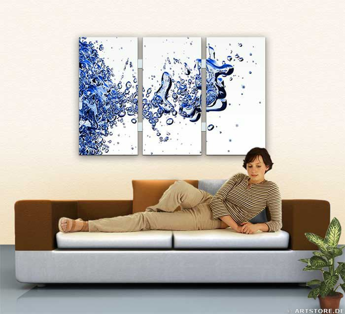 Wandbild Jack Dyrell LIQUID BLUE Wohnbeispiel