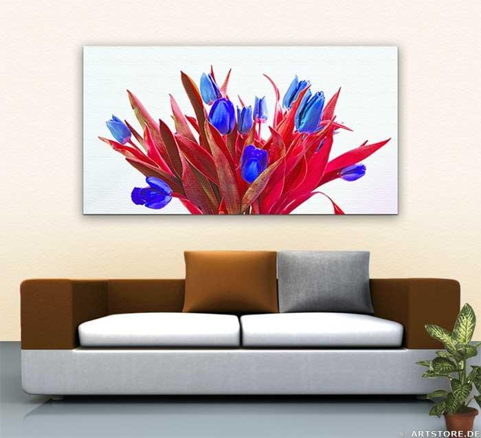 Wandbild Jack Dyrell BLUE TULIPS Wohnbeispiel
