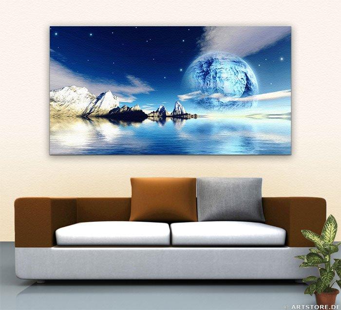 Wandbild Jack Dyrell BLUE REFLECTIONS Wohnbeispiel