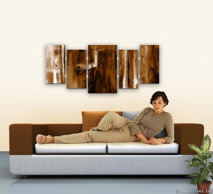 Wandbild Jack Dyrell COGNAC ABSTRAKT IN BRAUN Wohnbeispiel