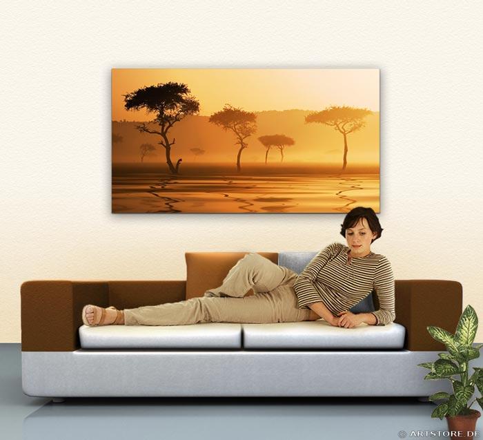 Wandbild Jack Dyrell AFRIKA MORGEN Wohnbeispiel