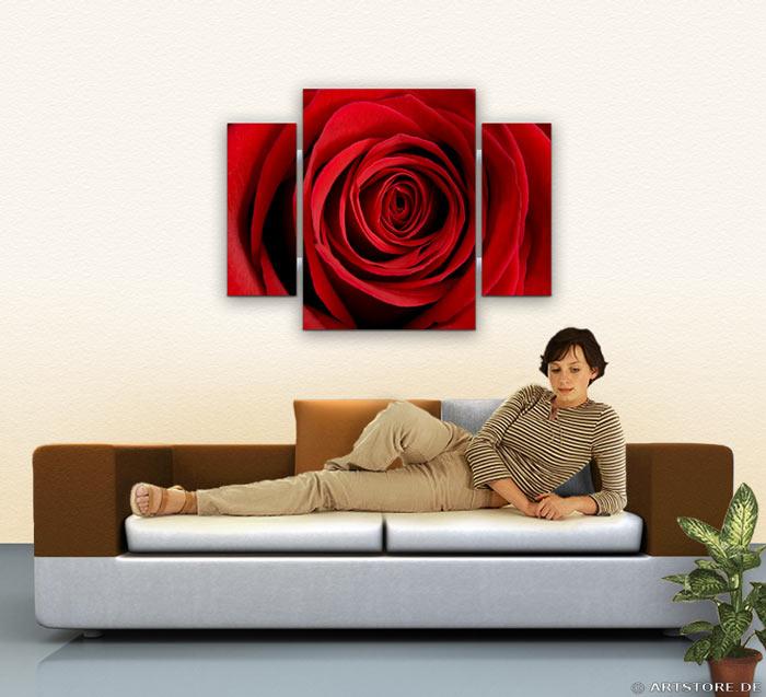 Wandbild Jack Dyrell ROTE ROSE Wohnbeispiel