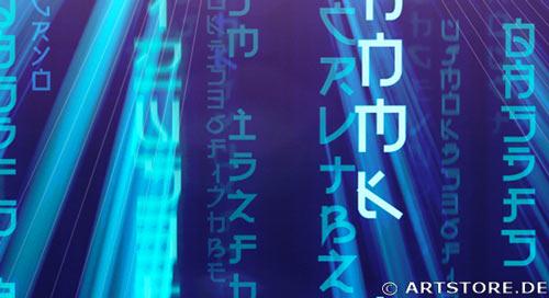 Wandbild Jack Dyrell BLUE MATRIX EDITION A Detailausschnitt