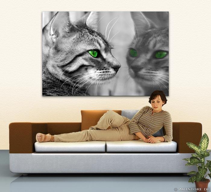 Wandbild Jack Dyrell GREEN EYES CAT Wohnbeispiel