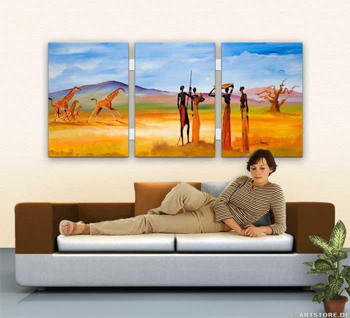 Wandbild Mia Morro MASSAI WILDLIFE Wohnbeispiel