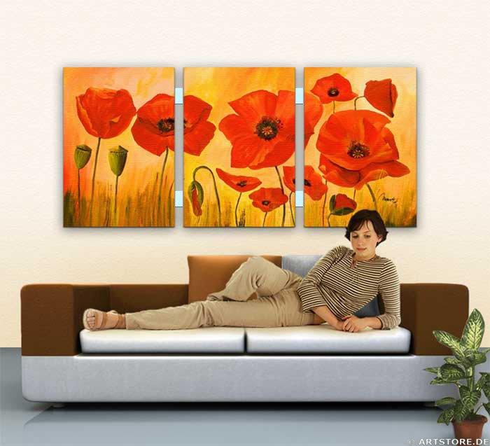 Wandbild Mia Morro POPPY FLOWERS Wohnbeispiel