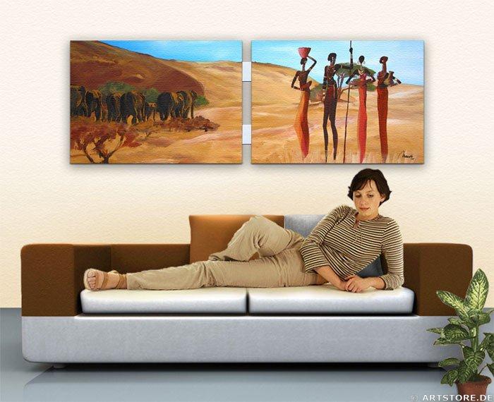 Wandbild Mia Morro MASSAI - AFRIKA Wohnbeispiel