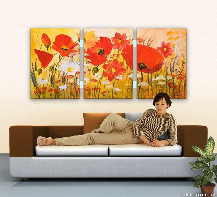 Wandbild Mia Morro FLOWER POWER Wohnbeispiel