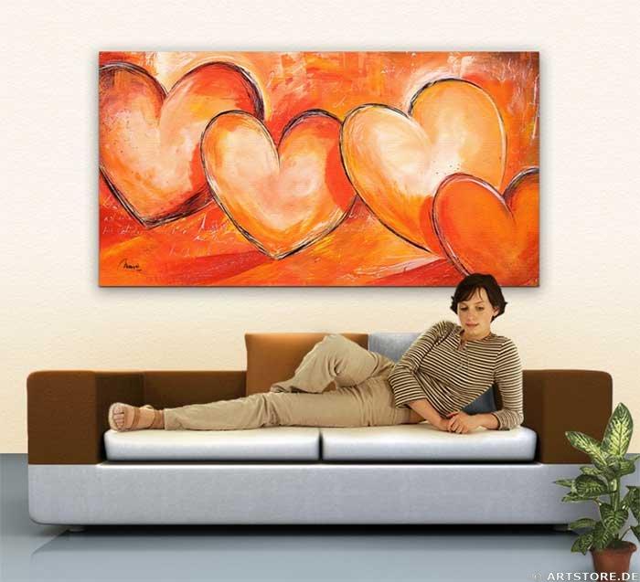Wandbild Mia Morro LOVELY HEARTS Wohnbeispiel