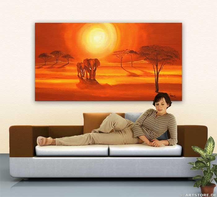 Wandbild Mia Morro AFRICAN ELEPHANTS - BILD Wohnbeispiel