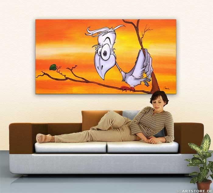Wandbild Mia Morro CRAZY BIRDY Wohnbeispiel