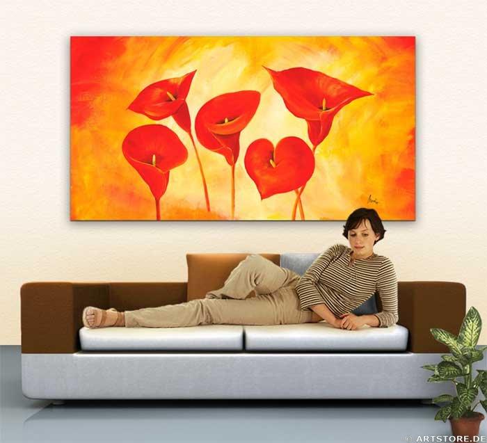 Wandbild Mia Morro RED LILIES Wohnbeispiel