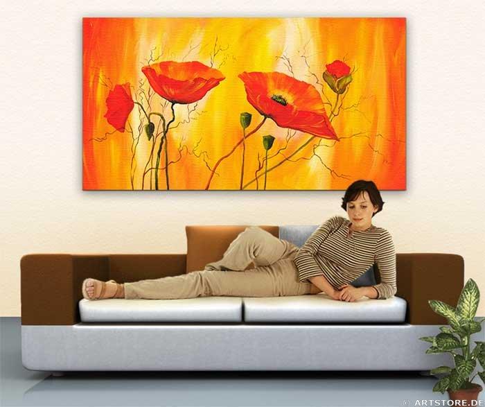 Wandbild Mia Morro FRESH POPPY - FLOWERS Wohnbeispiel
