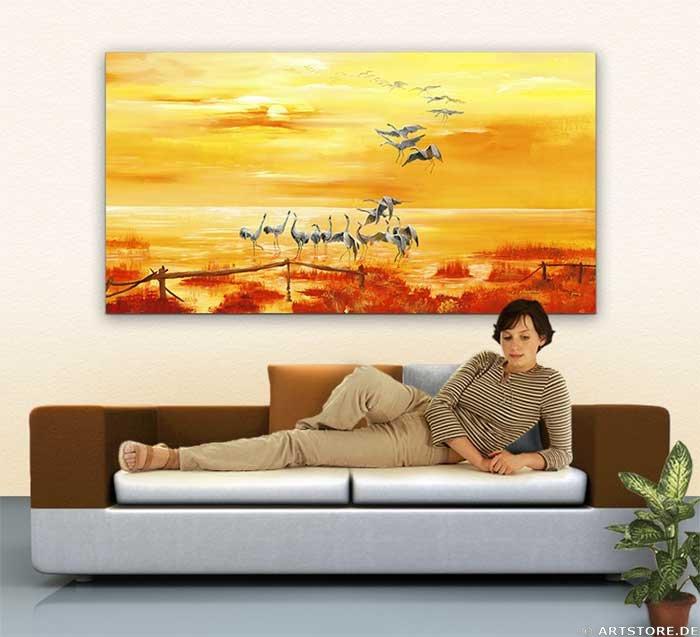 Wandbild Mia Morro LAKE SUNSET Wohnbeispiel