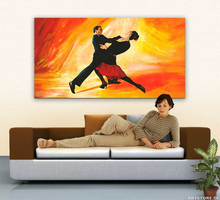 Wandbild Mia Morro TANGO - LEIDENSCHAFT Wohnbeispiel