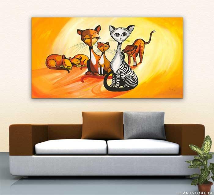 Wandbild Mia Morro FASHION CATS Wohnbeispiel