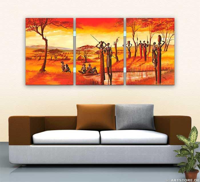 Wandbild Mia Morro MASSAI AFRIKA - Edition Wohnbeispiel