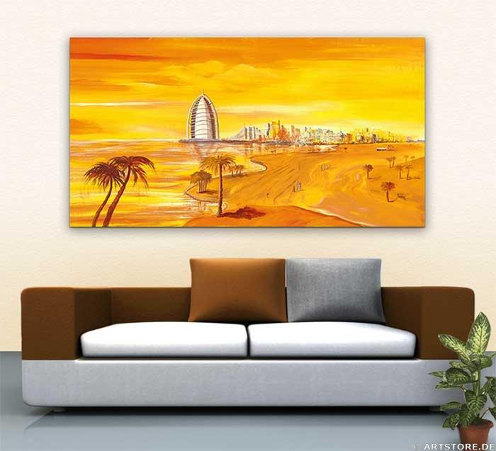 Wandbild Mia Morro DUBAI SKYLINE Wohnbeispiel