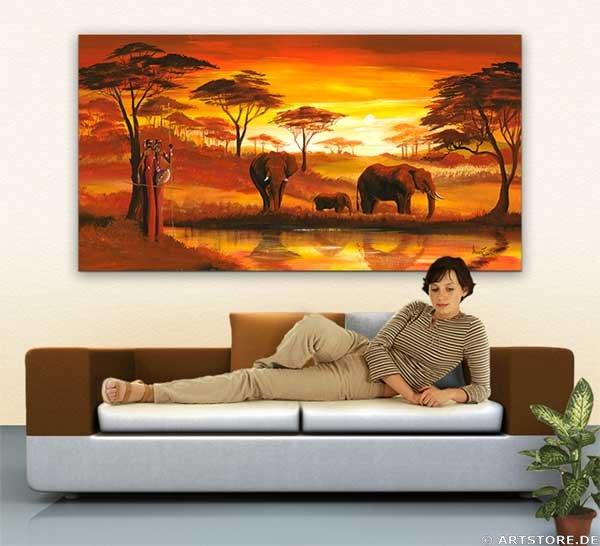 Wandbild Mia Morro GOLDEN AFRICA Wohnbeispiel