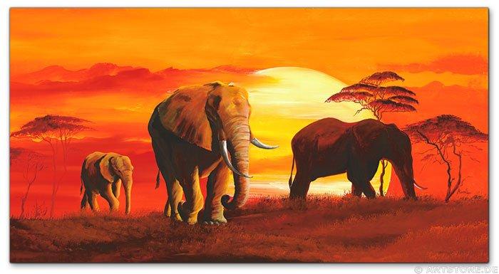 Wandbilder mia morro elephant family kunstdrucke leinwand keilrahmen - Elefanten bilder auf leinwand ...