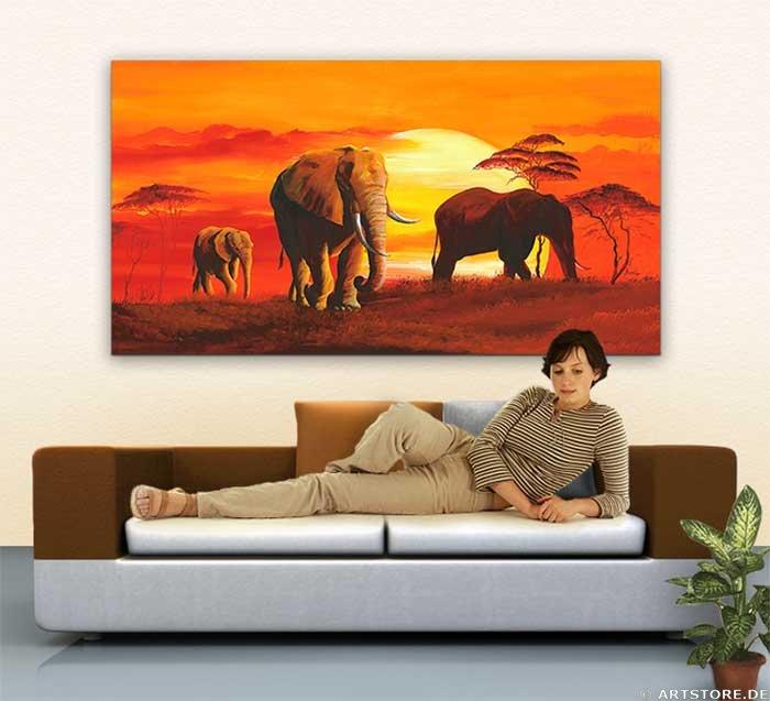 Wandbild Mia Morro ELEPHANT FAMILY Wohnbeispiel