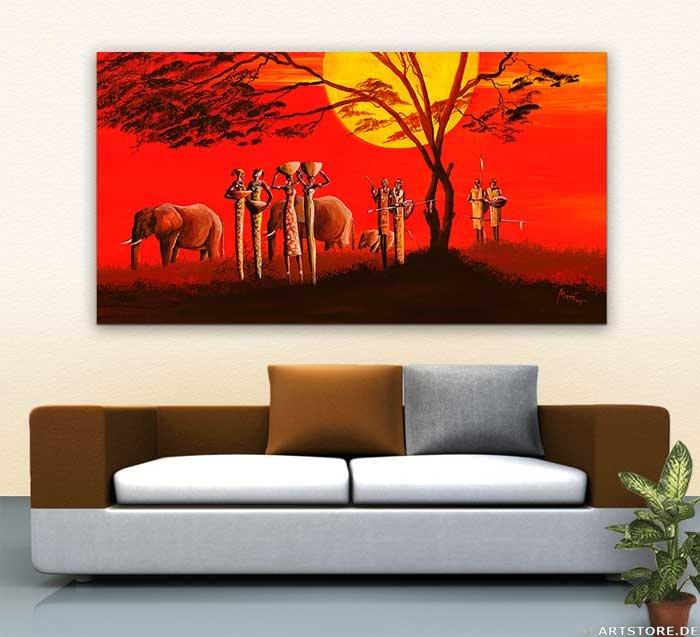 Wandbild Mia Morro SUNSET IN AFRICA Wohnbeispiel