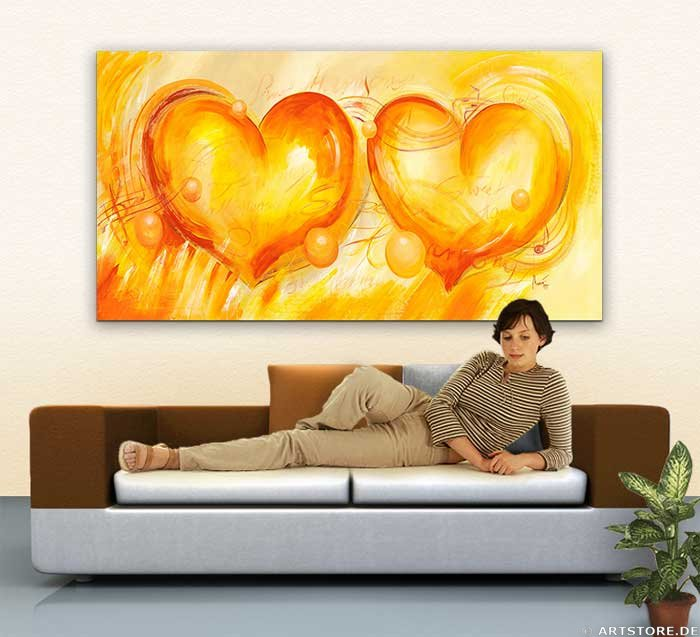 Wandbild Mia Morro TWO HEARTS Wohnbeispiel