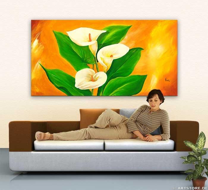 Wandbild Mia Morro WHITE CALLA Wohnbeispiel