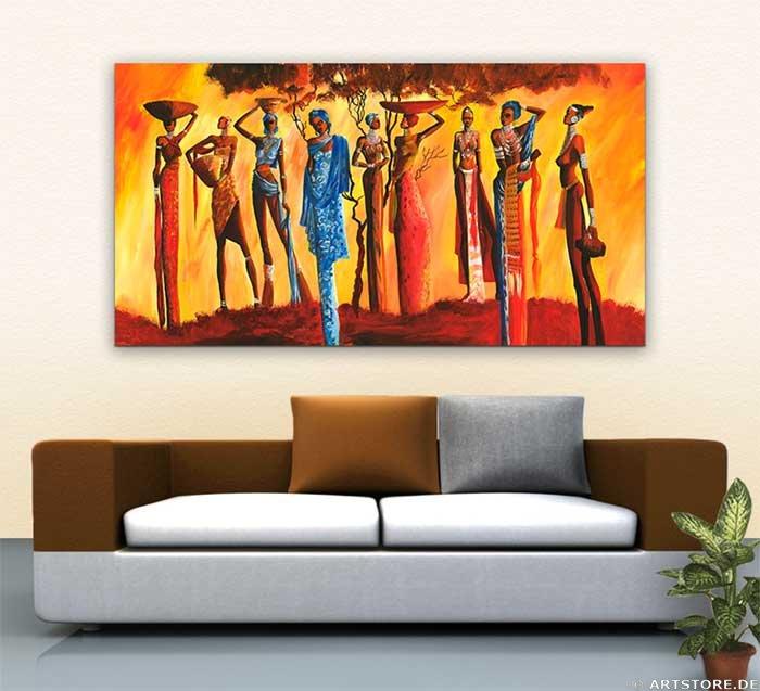Wandbild Mia Morro MASSAI AFRIKA Wohnbeispiel